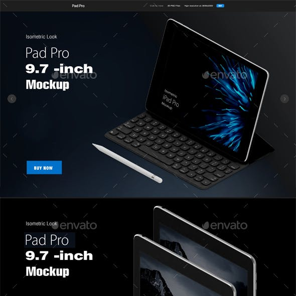 Isometric Pad Pro 9,7 inch Mock-up