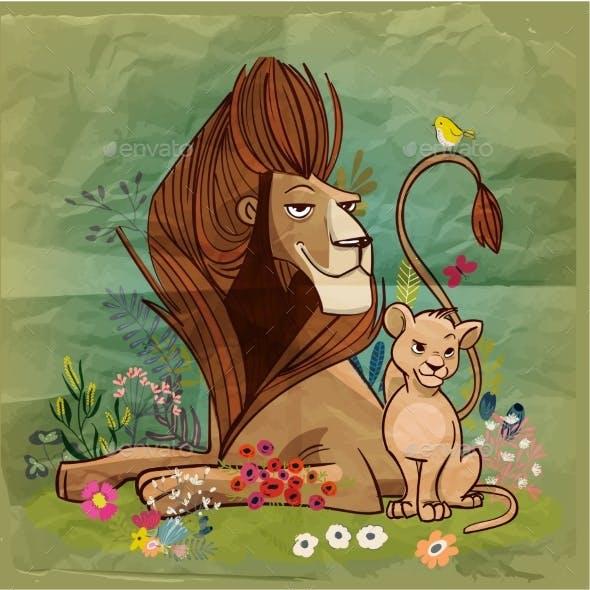 Cartoon Lion King with Kid