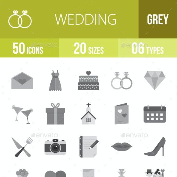 50 Wedding Grey Scale Icons