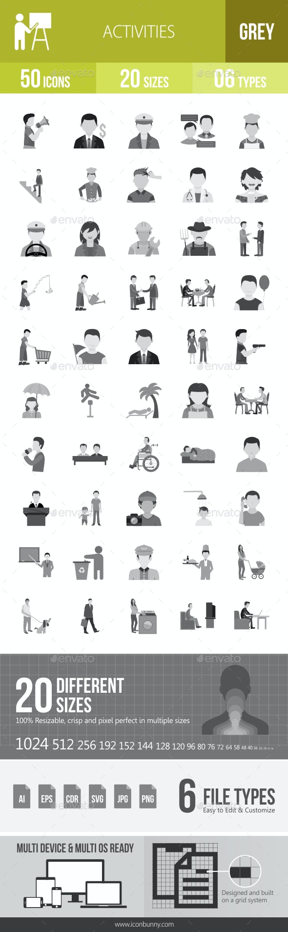50 Activities Grey Scale Icons - Icons