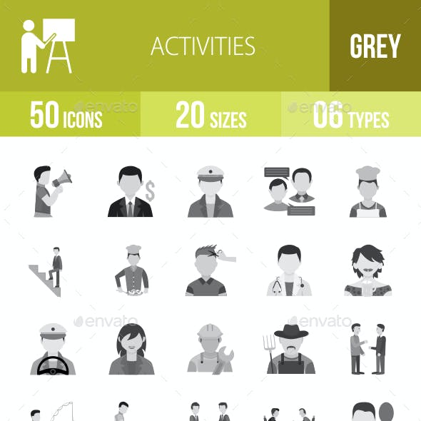 50 Activities Grey Scale Icons
