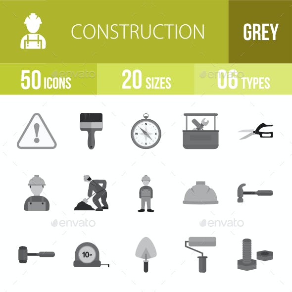 50 Construction Grey Scale Icons