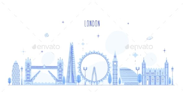 London Skyline England UK Vector City Buildings