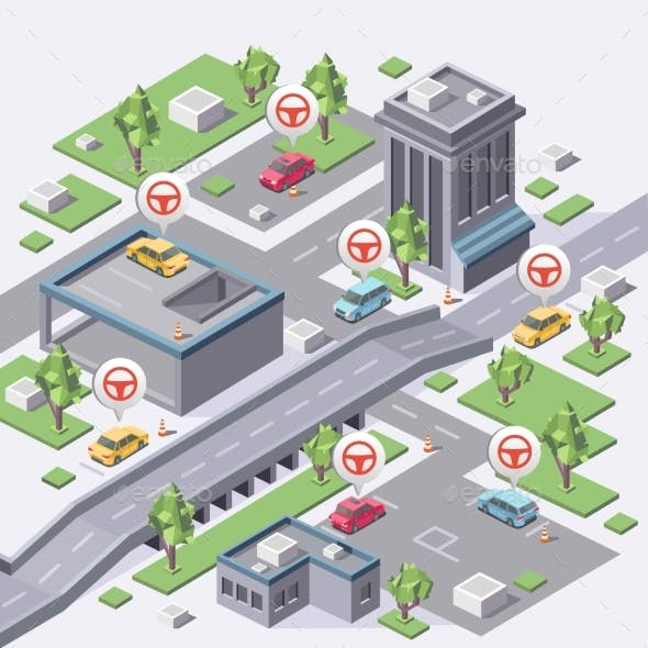 Isometric Carsharing Map Vector Illustration 3d