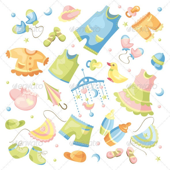 Baby Clothing And Accessories - Miscellaneous Vectors