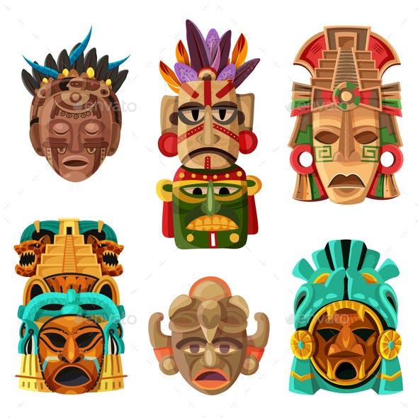 Mayan Mask Cartoon Set