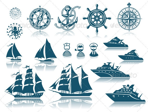 Compass and Sailing ships iconset - Travel Conceptual