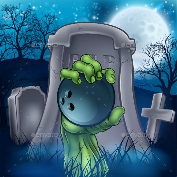 Bowling Zombie Halloween Graveyard Concept