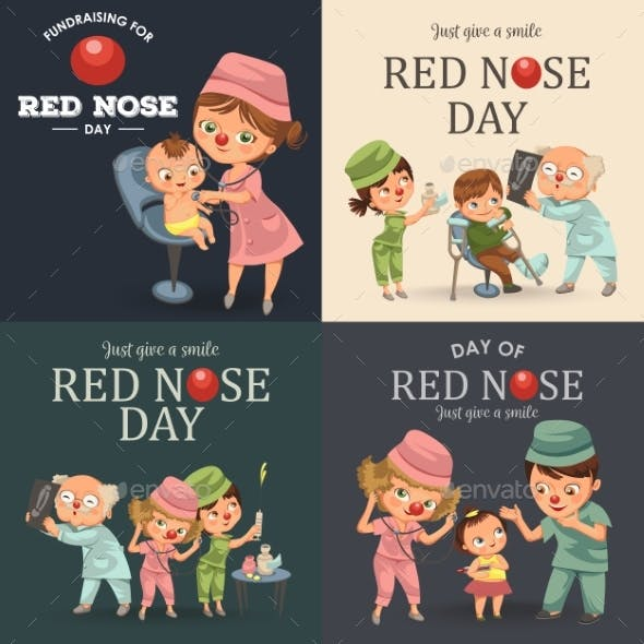 Set Red Nose Day Doctor Greeting Card