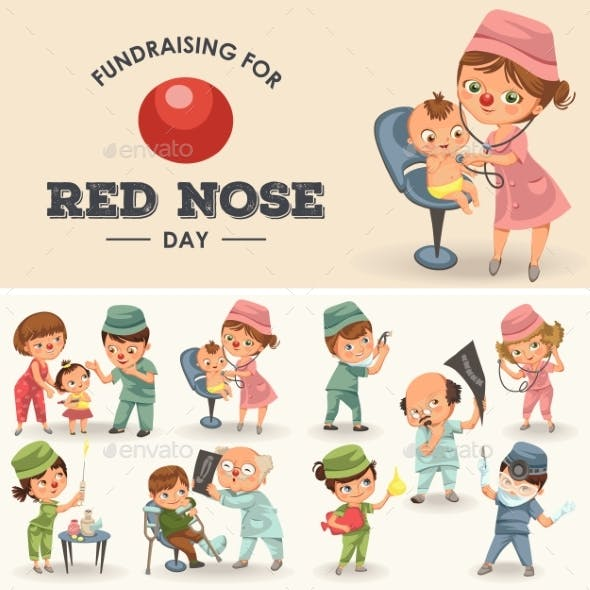 Set Red Nose Day Greeting Card, Medical Doctor