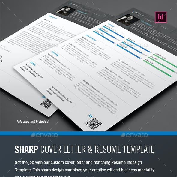 Sharp Resume and Cover Letter - Indesign Template