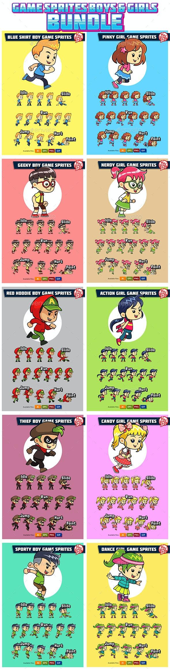 10 Game Sprites Bundle Boys & Girls - Sprites Game Assets