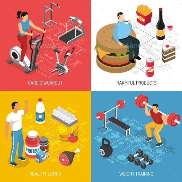 Fitness Sport Nutrition Isometric Concept