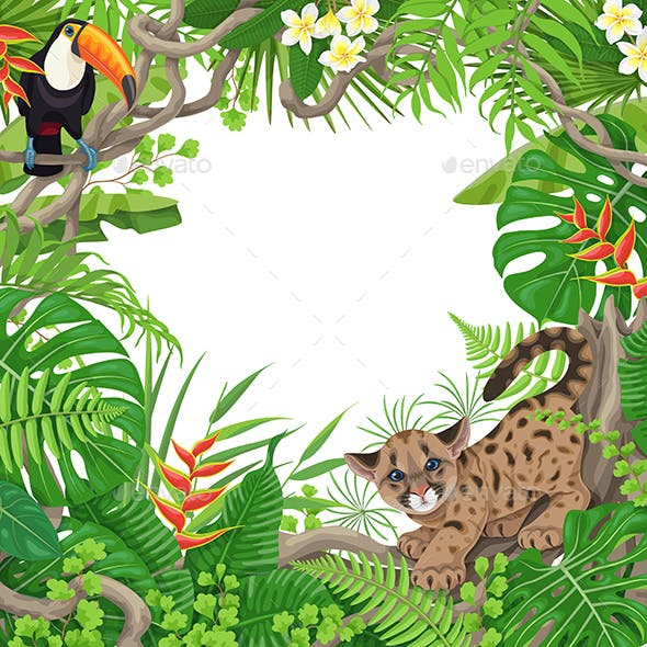Tropical Frame with Plants and Animals