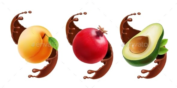 Fruit in Chocolate Splash Realistic Illustration.