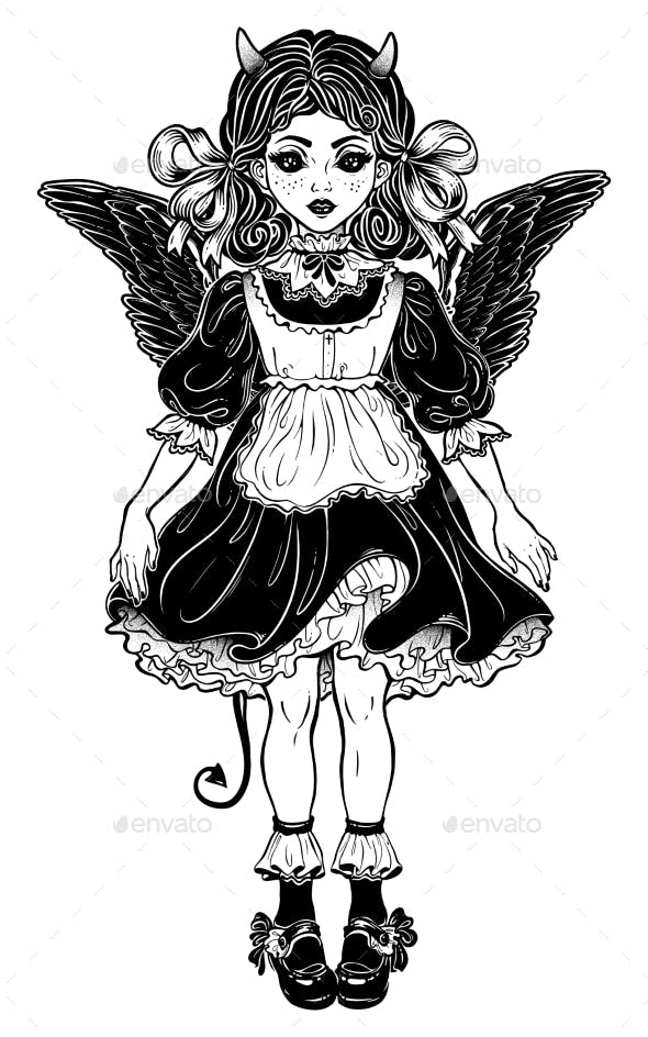 Evil Gothic Devil Victorian Little Girl or a Doll.