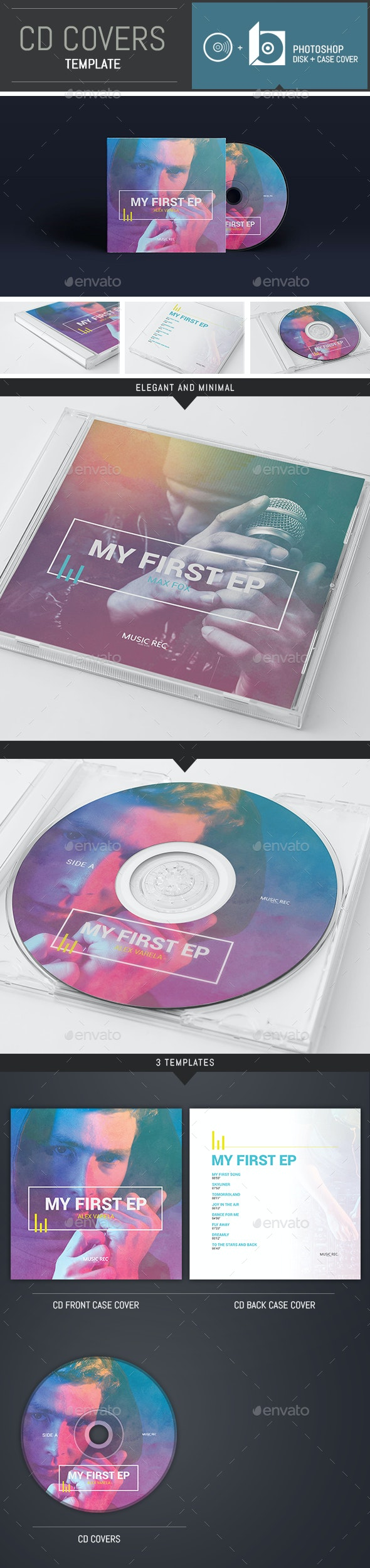DJ / Musician / Band CD Cover Template - CD & DVD Artwork Print Templates