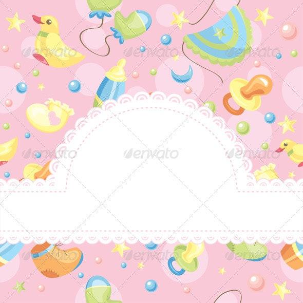 Baby Card Vector Illustration - Borders Decorative