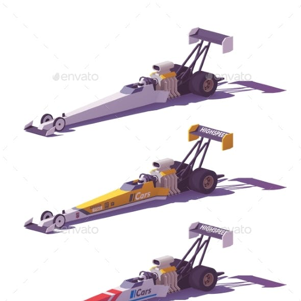 Vector Low Poly Top Fuel Dragsters