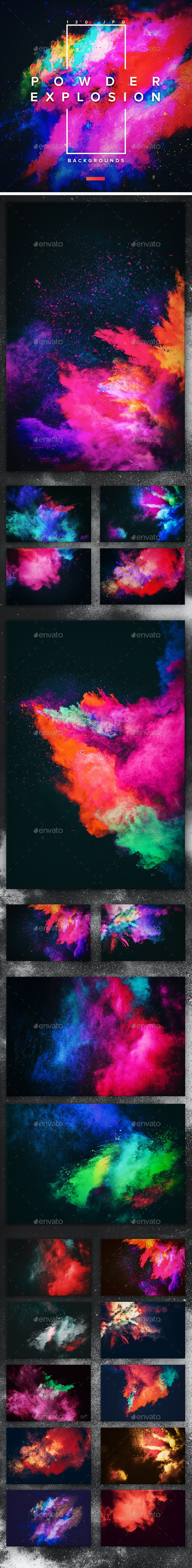 120 Powder Explosion Backgrounds - Abstract Backgrounds