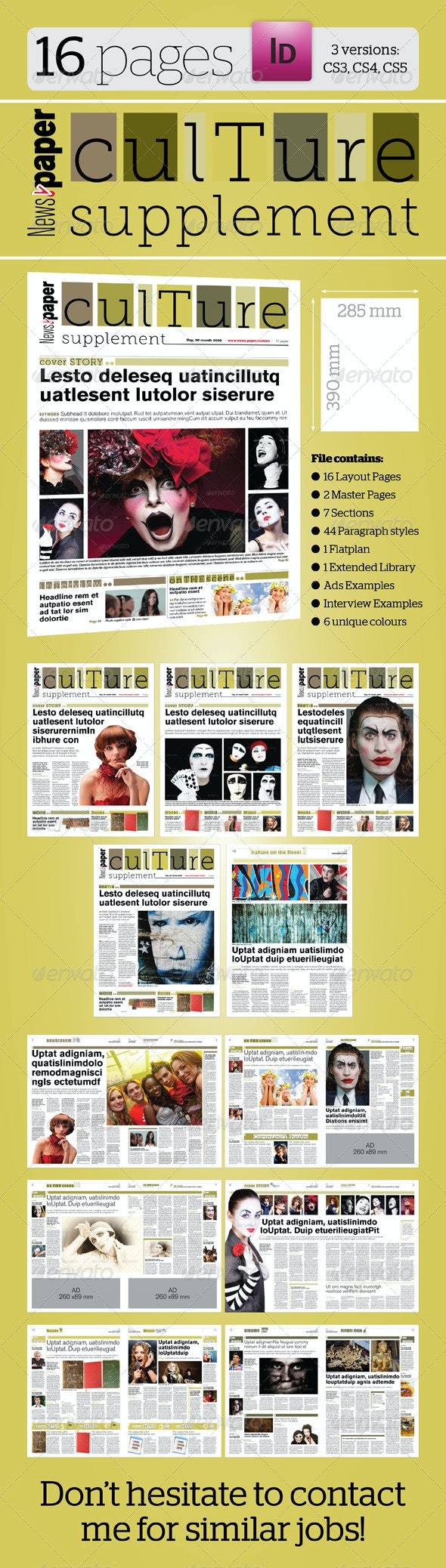 16 Pages Culture Supplement For News.paper - Newsletters Print Templates