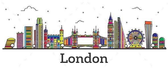 Outline London England City Skyline