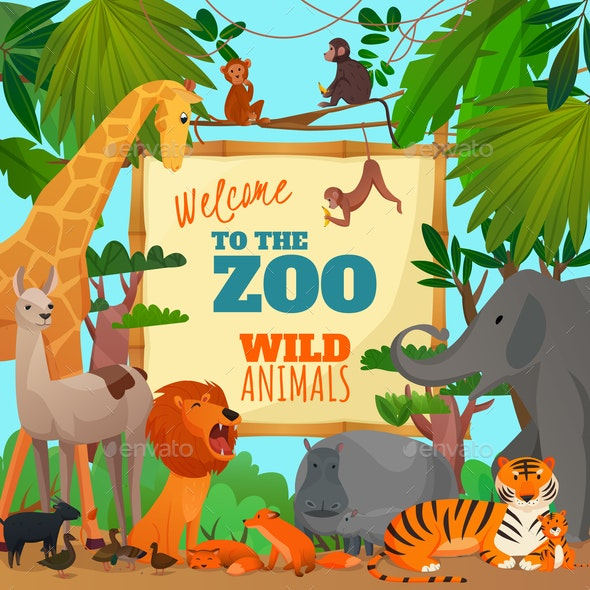Welcome To Zoo Cartoon Poster - Animals Characters