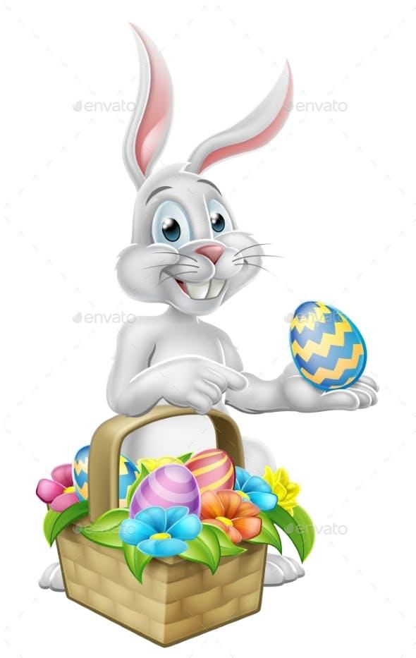 Easter Bunny Rabbit on Egg Hunt