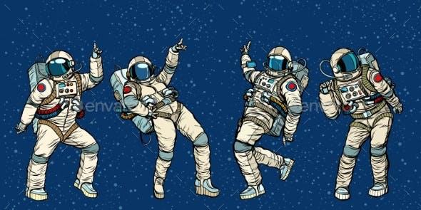 Disco Party Astronauts Dancing Men and Women