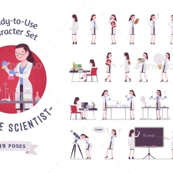 Female Scientist Ready-to-use Character Set