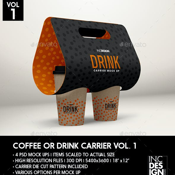 Coffee or Drink Take out Carrier Vol.1 Packaging Mock Up