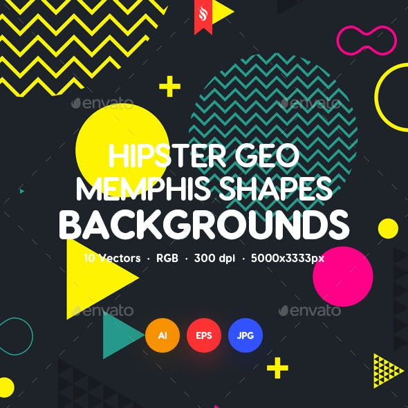 Abstract Hipster Geometric Shapes in Memphis Style Design Backgrounds