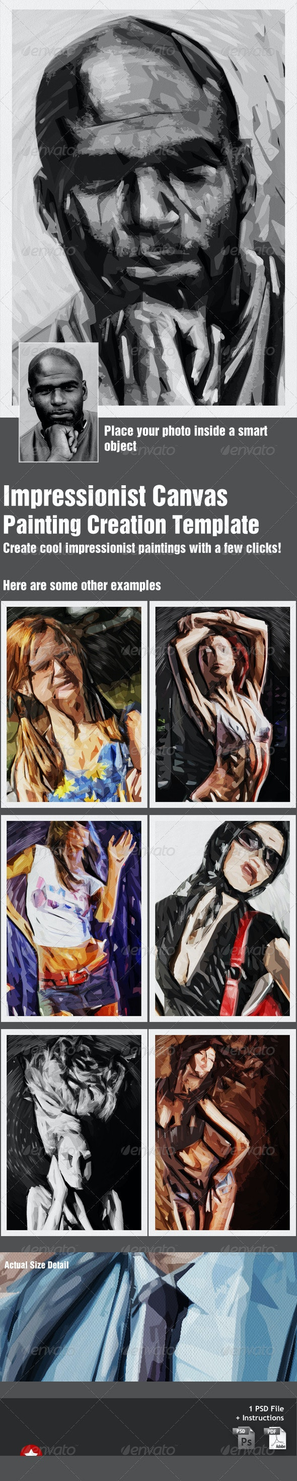 Impressionist Canvas - Painting Template - Artistic Photo Templates
