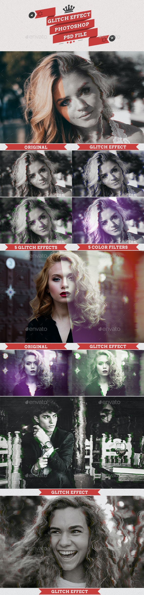Glitch Effect PSD Template - Artistic Photo Templates
