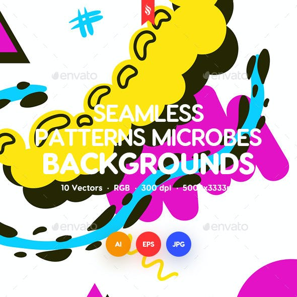 Seamless Patterns of Abstract Geo Microbes Backgrounds