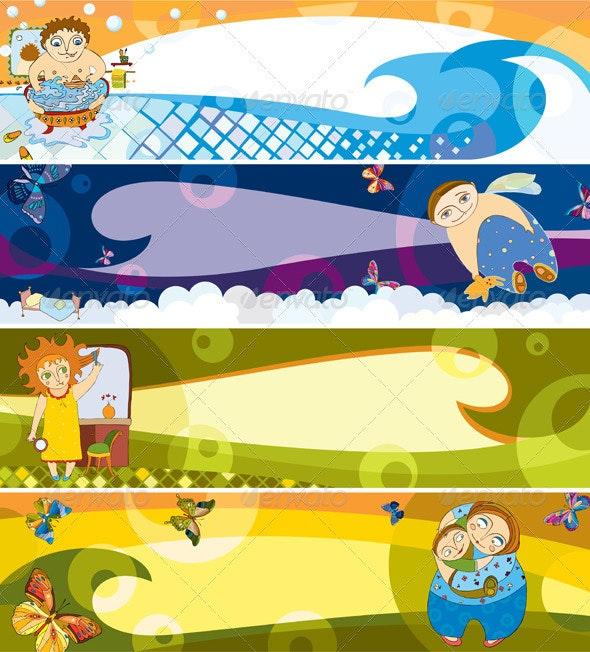 Children Banner Set - Backgrounds Decorative