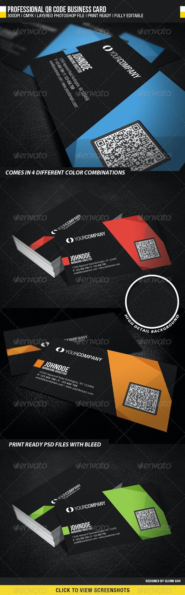 Professional QR Code Business Card - Corporate Business Cards