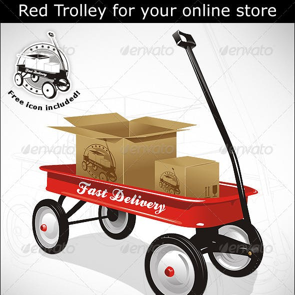 Red trolley with boxes