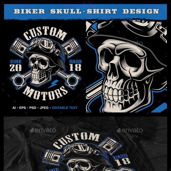Biker Skull with Crossed Pistons.