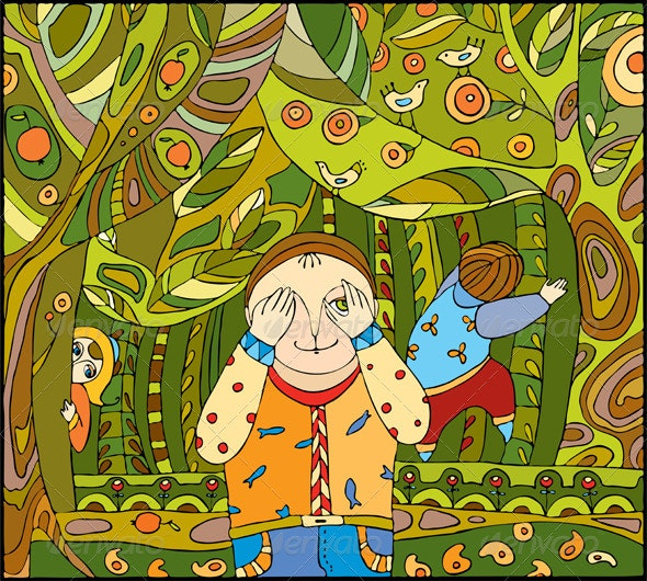 Children Play Forest - People Characters