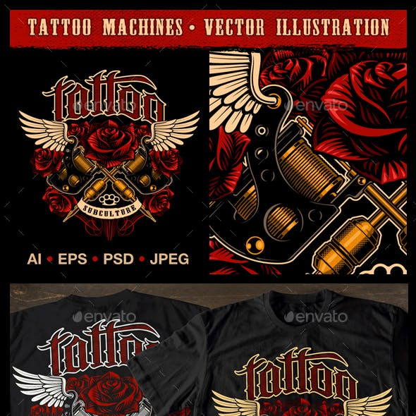 Tattoo machine vector.