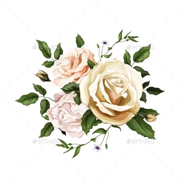 Vector Realistic Watercolor Rose Bouquet Leaves - Flowers & Plants Nature