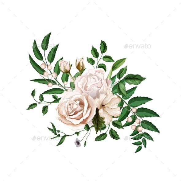 Vector Realistic Watercolor Rose Bouquet Leaves