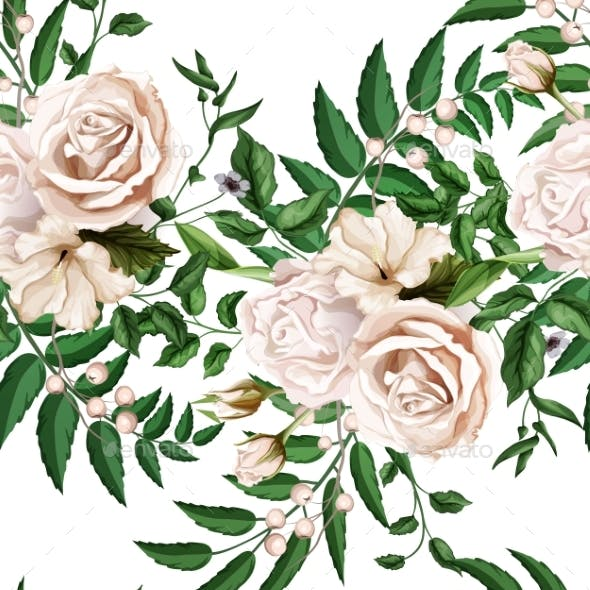 Vector Watercolor Rose Bouquet Seamless Pattern