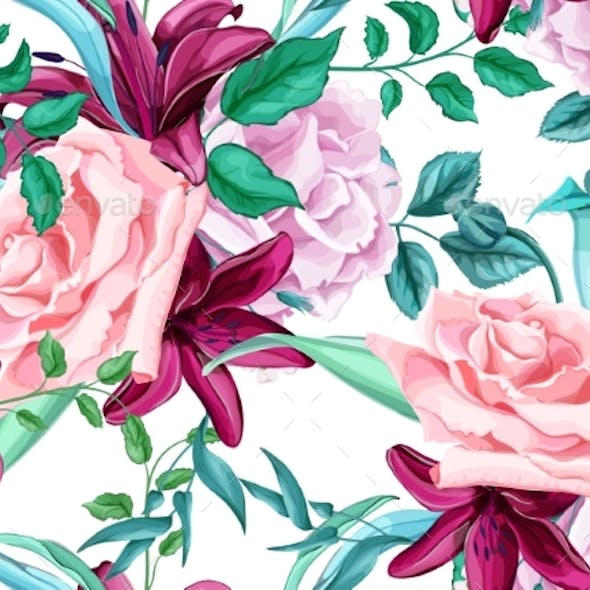Vector Rose Lily Bouquet Seamless Pattern