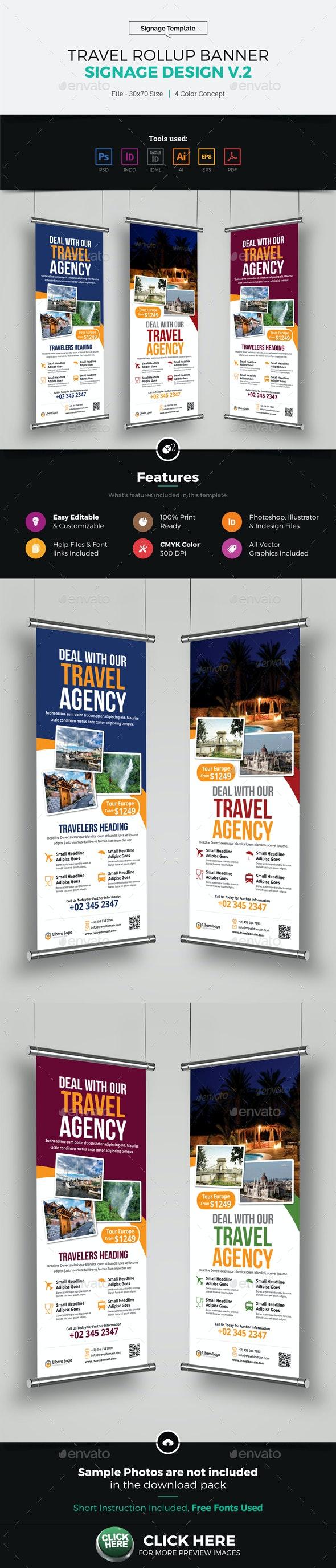 Travel Rollup Banner Signage Design v2 - Signage Print Templates