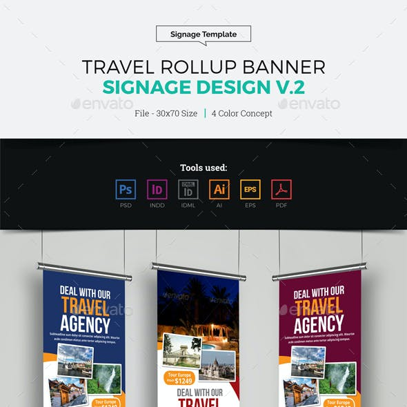 Travel-agency Roll Up Banner Graphics, Designs & Templates