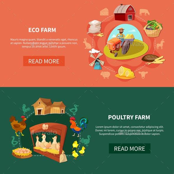 Farm Cartoon Banner Set