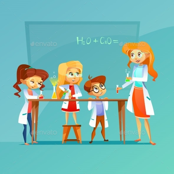 Children at Chemistry Class Vector Illustration