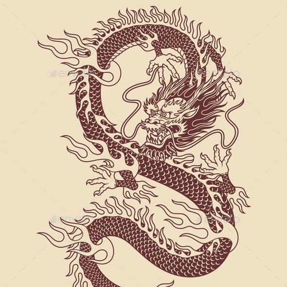 Traditional Asian Dragon Vector Illustration